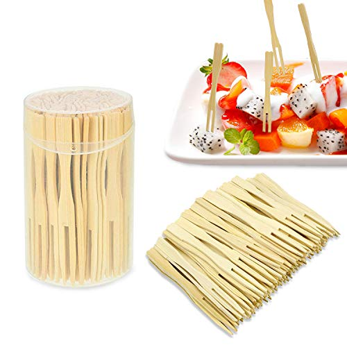 Bamboo Forks 3.5 Inches Disposable Mini Food Picks Double Prong Fruit Cocktail Forks Blunt-end Forks for Appetizer, Cocktail, Fruit, Pastry, Dessert (110 Pcs)
