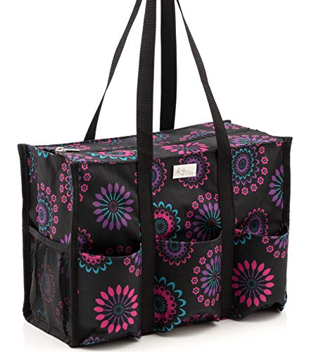 Pursetti Zip-Top Organizing Utility Tote Bag (Purple Circle_Large) with Multiple Exterior & Interior Pockets for Working Women, Nurses, Teachers and Soccer Moms