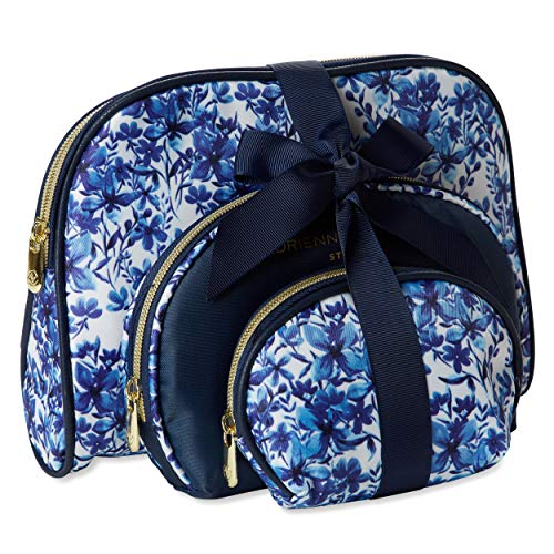 Adrienne Vittadini Cosmetic Makeup Bags: Compact Travel Toiletry Bag Set in Small, Medium and Large for Women and Girls - Blue Wild Flower