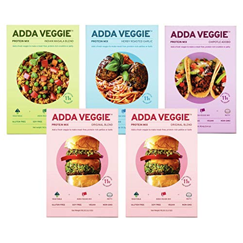 Adda Veggie Plant-Based Meal Starter - Vegan Meat Alternative - Gluten-Free, Soy-Free, High-Protein - Variety Pack (Pack of 5)