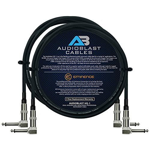 Audioblast - 2 Units - 2 Foot - HQ-1 - Ultra Flexible - Dual Shielded (100%) - Guitar Instrument Effects Pedal Patch Cable w/Eminence Right-Angled ¼ inch (6.35mm) TS Plugs & Double Staggered Boots