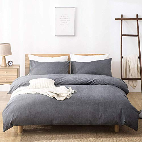 SORMAG 100% Washed Cotton Duvet Cover 3 Piece, Comforter Cover Queen Full Size, Solid Color and Ultra Soft with Zipper Closure, Corner Ties, Simple Bedding Style, Gray