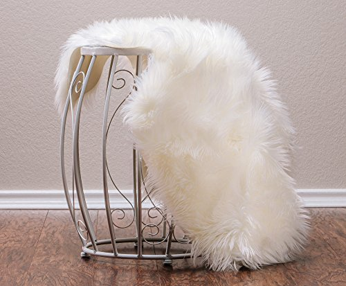 Chanasya Faux Fur Fake Sheepskin White Chair Cover Rug/Solid Shaggy Area Rugs for Living Bedroom Floor - Off White 2ftx3ft