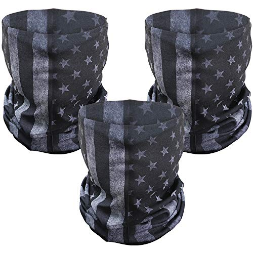 3 Pcs American Flag Outdoor Face Mask- Multifunctional Seamless Microfiber American Flag UV Protection Face Neck Gaiter Shields Headwear for Men&Women Motorcycle Hiking Cycling Ski Snowboard(Grey)
