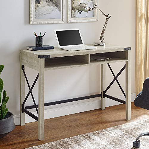 Walker Edison Furniture Company Rustic Modern Farmhouse Metal and Wood Laptop Computer Writing Desk Home Office Workstation Small, 42 Inch, White Oak