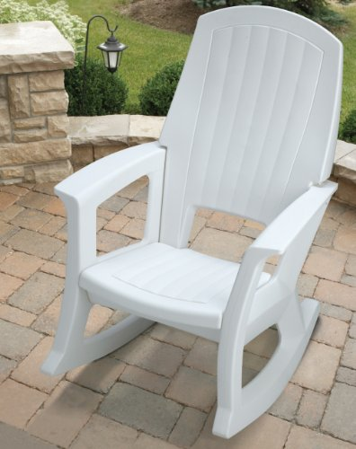 Semco Plastics SEMW Extra Large Recycled Plastic Resin Durable Outdoor Patio Rocking Chair, White
