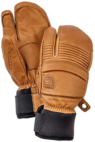 Hestra Leather Fall Line - Short Freeride 3-Finger Snow Glove with Superior Grip for Skiing and Mountaineering - Cork - 9