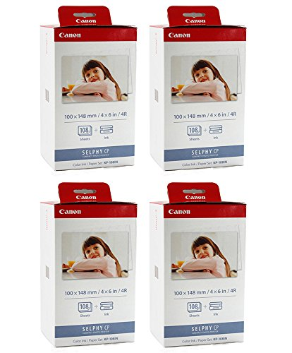Canon KP-108IN Color YBXJPq Ink and 4 x 6 Paper Set, 108 Count (Pack of 4)