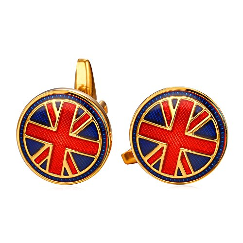 U7 Cool The Union Jack Flag Cufflinks for Men 1 Pair Set 18K Gold Plated Shirt Accessories Red Enamel Round Cuff Links