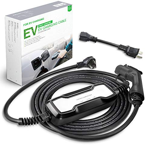 Morec 16A EV Charger Level 1-2 NEMA6-20P with Adapterfor NEMA 5-15, 100V-240V, Portable EVSE SAE J1772 Plug 8m (26 feet), Home Electric Vehicle Charging Station Compatible with All EV Cars