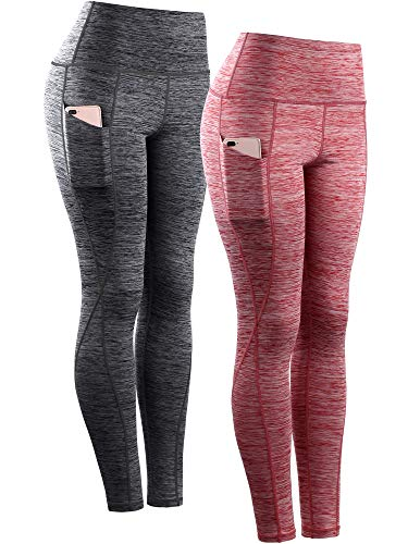 Neleus Women's Yoga Pant Running Workout Leggings with Pocket Tummy Control High Waist,9033,2 Pack,Black,Red,US 2XL,EU 3XL