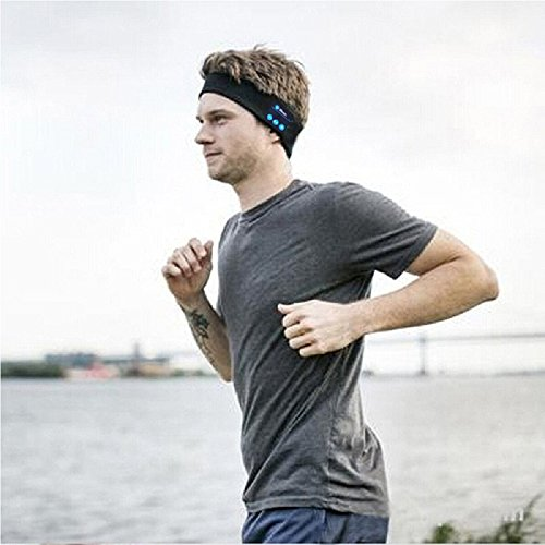 CEStore Lightweight Headband with Bluetooth 3.0 Headphone Headset Earphone Stereo Speakers Mic Hands Free for Gym Fitness Exercise Outdoor Sport,Compatible with Iphone Android Cell Phones-Black