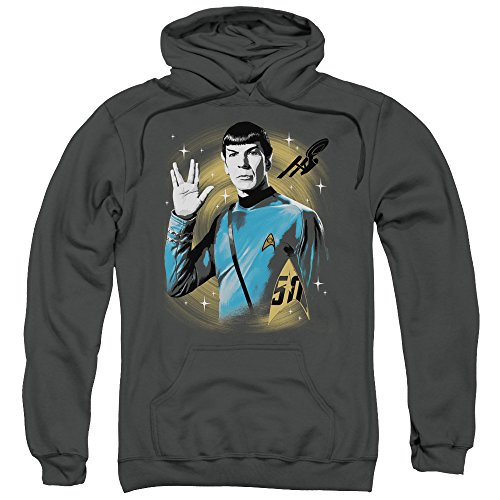 Star Trek Space Prosper Unisex Adult Pull-Over Hoodie for Men and Women, 2X-Large Charcoal