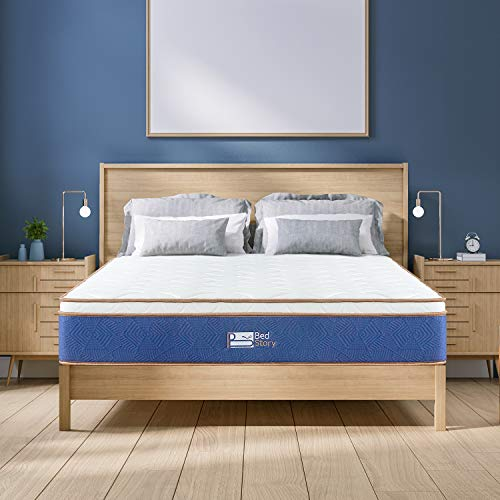 BedStory Twin Mattress, 10 Inch Latex Infused Memory Foam Pocket Coil Spring Hybrid Mattress, Single Bed Mattress in a Box, Medium Firm Comfortable Mattresses Twin Size