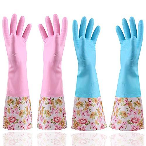 KINGFINGER Rubber Latex Waterproof Dishwashing Gloves,2 Pair Medium Long Cuff Flock Lining Household Cleaning Gloves