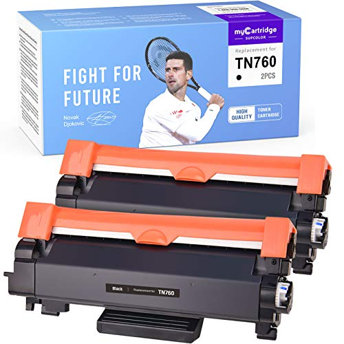 myCartridge SUPCOLOR Compatible Toner Cartridge Replacement for Brother TN760 760 TN-760 TN730 for HL-L2350DW HL-L2395DW HL-L2370DW MFC-L2710DW DCP-L2550DW HL-L2390DW High Yield (Black, 2-Pack)