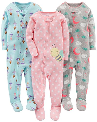 Simple Joys by Carter's Baby Girls' 3-Pack Snug-Fit Footed Cotton Pajamas, Ballerina/Moon/Bee, 18 Months