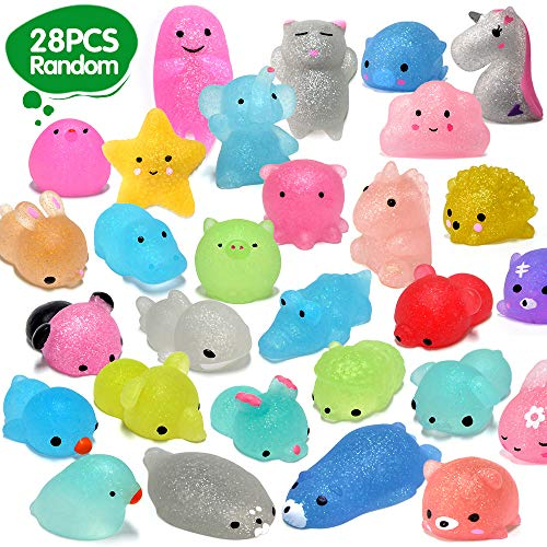 ORWINE Squishies 28pcs Mochi Squishys Toys 2nd Generation Party Favors for Kids Birthday Gift for Girl Boy Glitter Mini Squishy Mochi Animal Squishies Stress Relief Toy Xmas Gift for Kid Adult, Random