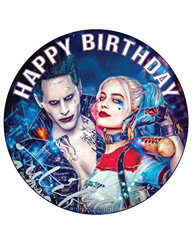 7.5 Inch Edible Cake Toppers – Suicide Squad Joker & Harley Themed Birthday Party Collection of Edible Cake Decorations