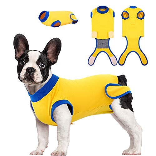 Kuoser Recovery Suit for Dogs Cats After Surgery, Professional Pet Recovery Shirt for Male Female Dog Abdominal Wounds Bandages, Substitute E-Collar & Cone, Prevent Licking Dog Onesies Snugly Suit XXL