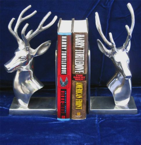 Stag Bookends Polished Aluminum 10