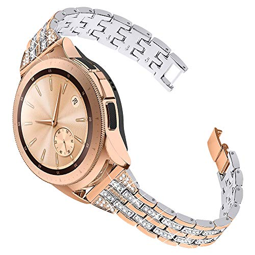 Joyozy Women Girls Stylish Band for Samsung Galaxy Watch(42mm)/Galaxy Watch3(41mm)/Active/2(40mm)/(44mm)/Ticwatch 2, Stainless Steel 20mm Jewelry Watch Strap Wrist Rhinestones Bracelet Original Design