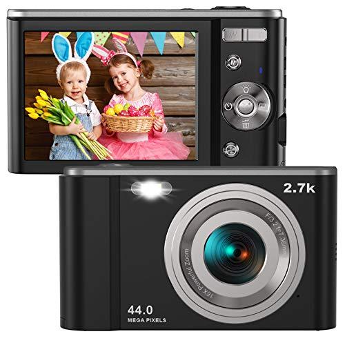 Digital Camera HD 2.7K 44 MP Vlogging Camera with Webcam, Point & Shoot Digital Camera with 2.88' IPS Screen, 16X Digital Zoom, 2 Batteries, Gift for Birthdays,Christmas,Thanksgiving Days -Black