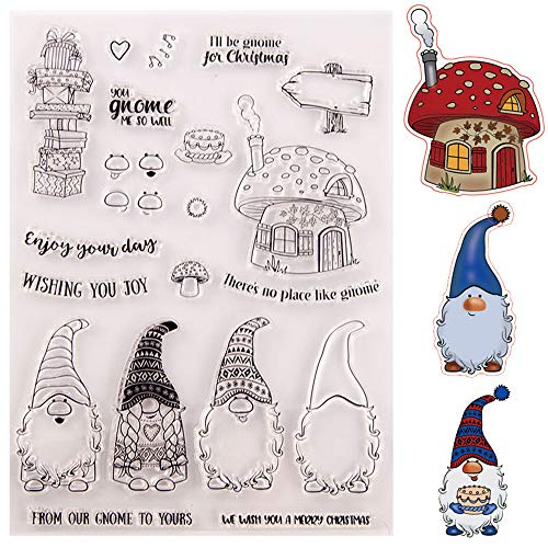 6.1 by 8.5 Inch Cute Santa Claus Gifts Mushroom House Stamp and Die Set for Card Making and Scrapbooking Wishing Words Christmas Stamps and Dies(T1648)