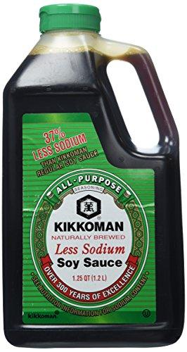 Kikkoman Traditionally Brewed Less Sodium All-Purpose Seasoning Soy Sauce 1.25 Qt (40 Oz)