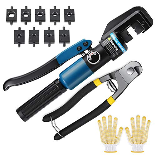 10 Ton Custom Hydraulic Hand Crimper Tool for Stainless Steel Cable Railing Fittings for 1/8' to 3/16' Cable -Wire Swaging Tool Kit with Stainless Steel Cable Cutter