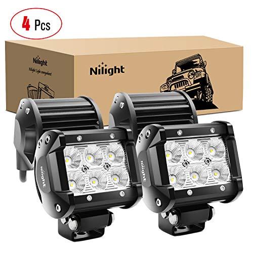 Nilight - 60001F-C LED Light Bar 4PCS 4 Inch 18W LED Bar 1260lm Flood Led Off Road Driving Lights Led Fog Lights Jeep Lighting LED Work Light for Van Camper SUV ATV ,2 Years Warranty