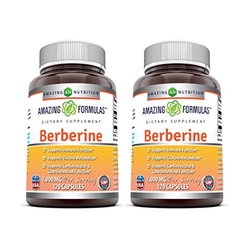 Amazing Formulas Berberine 500mg (1000mg Per Serving) Capsules - Supports Immune Function, Cardiovascular & Gastrointestinal Function (120 Count (Pack of 2))