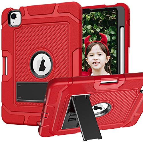 UMIONE Kids Case for New iPad Air 4th Generation Case, 2020 ipad Air 10.9'/2018 ipad Pro 11, [ Pencil Holder ] 3 Layers Heavy Duty Shockproof Rugged Drop Protection Cover with Kickstand-Red