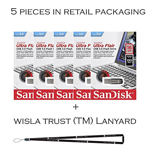 SanDisk Cruzer Flair 16GB (5 Pack) SDCZ73-016G USB 3.0 130mb/s Flash Drive Jump Drive Pen Drive SDCZ73-016G - Five Pack + Bonus Wisla Trust (TM) landyard