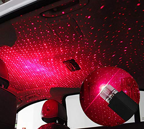 USB Star Night Lights,Usting Flexible USB Night Lamp Fit All Cars Ceiling Roof Star Lights Interior Ambient Atmosphere for Bedroom Decorations,Party,Walls - Plug and Play (Red Color)