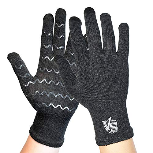 Vital Salveo Full Finger Compression Arthritis Gloves-Relieve Pain for Rheumatoid, Carpal Tunnel Arches, Computer Typing. Fit for Men and Women and Daily Support (1 Pair)-Dark Grey-S