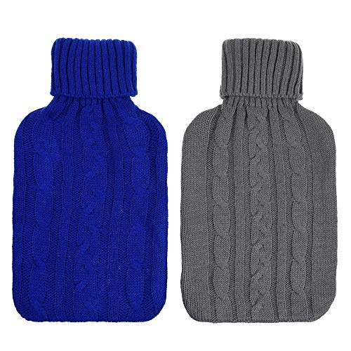 CM Pack of 2 Knitted Cover for 2 Liter (2000 ml) Hot Water Bottle Rubber Winter Warmer for Women Kids (Cover Sleeves Only)