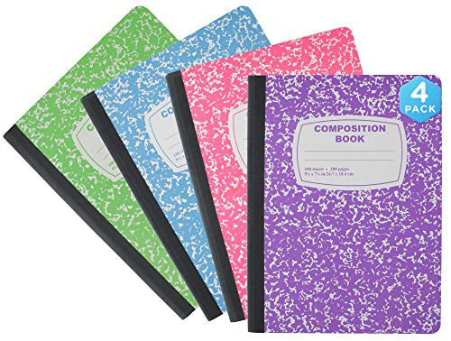Emraw Neon Color Cover Composition Book with 100 Sheets of wide ruled white paper (Random 4-Pack) Neon Purple, Neon Blue, Neon Green, Neon Pink