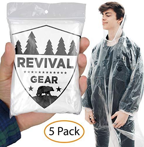 Rain Ponchos 5 Pack: Best Disposable Clear Rain Jacket Coat Poncho for Family Women Men & Kids. Outdoor Hiking Camping Gear Raincoat & Drawstring Hood. Emergency Lightweight Packable Waterproof Suit