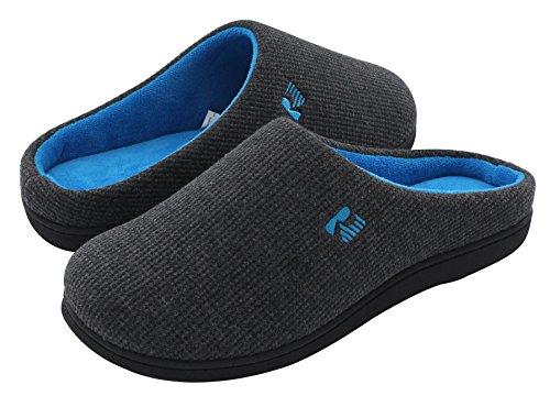 RockDove Men's Original Two-Tone Memory Foam Slipper, Size 9-10 US Men, Dark Gray/Blue