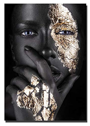 Abstract Poster Printed Golden Fashion black sexy women Wall Art Canvas Print Frame Picture Painting for Room Home Decorations 24x36inch