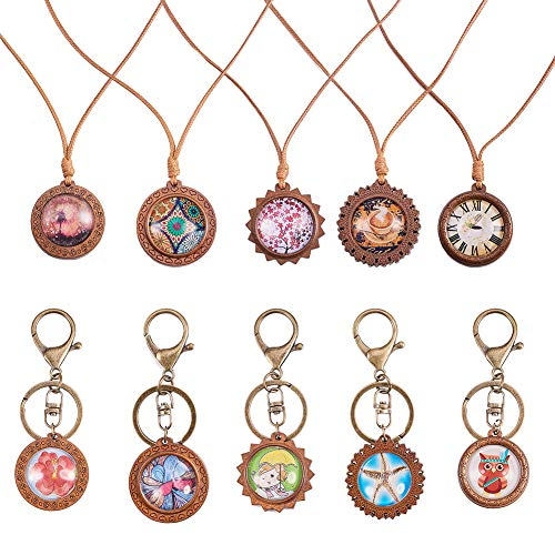 SUNNYCLUE 10pcs Wood Cabochon Pendant Trays Settings 25mm & 10pcs Clear Glass Cabochons & Iron Lobster Clasp Keychain & 5Yard 1.5mm Waxed Polyester for DIY Jewelry Necklace Making, Instruction