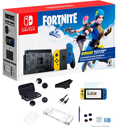 Newest Nintendo Switch Wildcat Bundle Fort-nite Special Edition 32GB Console - Yellow and Blue Joy-Con, 6.2' Multi-Touch Display, WiFi, 2000 V-Bucks for Family Holiday +GalliumPi Deluxe 16-in-1 Bundle