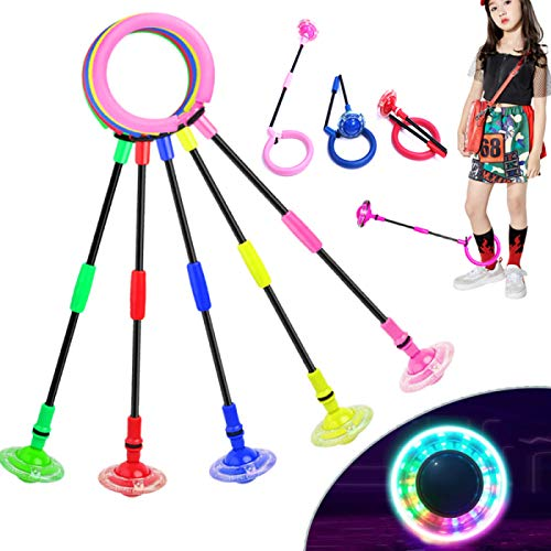 Flashing Jumping Ring Children Colorful Ankle Skip Jump Ropes Sports Swing Ball for Kids Boys Girls Toy (Pink)