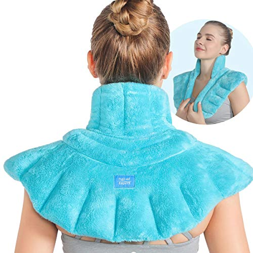 Relief Expert Microwavable Heating Pad for Neck and Shoulders, Extra Large Weighted Microwave Heated Neck Wrap for Pain Relief