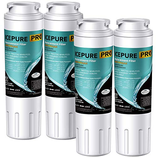 ICEPURE PRO NSF 53&42 Certified UKF8001 Refrigerator Water Filter, Compatible with Maytag UKF8001, UKF8001AXX, UKF8001P, Whirlpool 4396395, 469006, EDR4RXD1, EveryDrop Filter 4, Puriclean II, 4 Pack