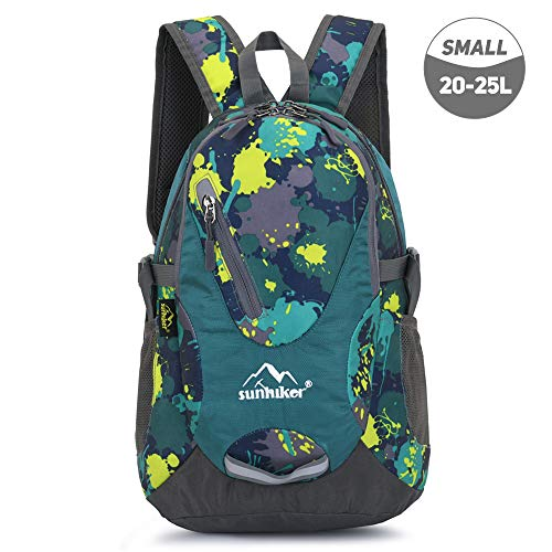 sunhiker Small Cycling Hiking Backpack Water Resistant Travel Backpack Lightweight Daypack M0714 (20-25L)-Colorful Micai