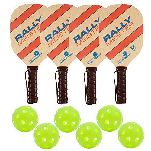 Rally Meister Wood Pickleball Paddle Deluxe Bundle 4 Paddles & 6 Balls
