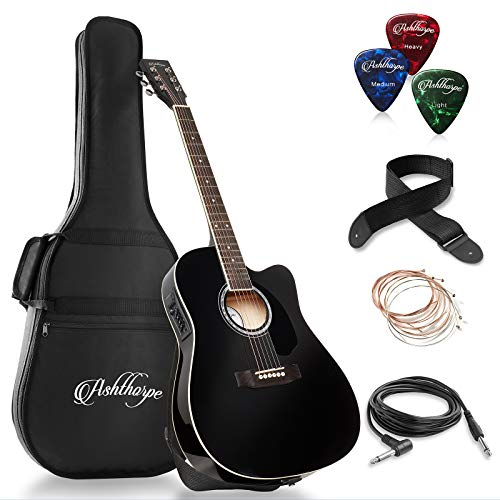 Ashthorpe Full-Size Cutaway Thinline Acoustic-Electric Guitar Package - Premium Tonewoods - Black