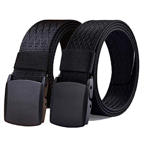 WYuZe Black Nylon Webbing Belt-2 Pack Plastic Military Tactical Web Belt for Men,Black W+black J,Waist: 28'-42'